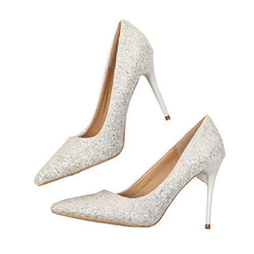 Tacones Altos para Mujer, Zapatos de tacón Fino, Tacones de Aguja a la Moda, Fiesta, Primavera, otoño, Puntiagudos, Zapatos de cancha Poco Profundos