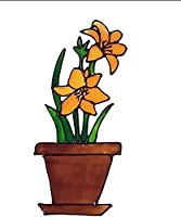 Flower Window Clings - Lilies, Tulips & Daffodils Flower Pot Window Clings, Glass Door Sticker Decals, Adding Color and Fun to Your Room (C)