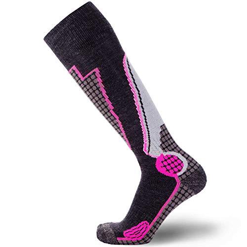 High Performance Wool Ski Socks – Outdoor Wool Skiing Socks, Snowboard Socks (Black/Grey/Neon Pink, Medium)