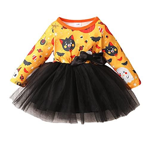 Toddler Kid Baby Girls Halloween Dress Pumpkin Ghost Costume Princess Fancy Cosplay Dress Up Long Sleeves Cartoon Print Bowknot Tulle Tutu Wedding Birthday Party Gown