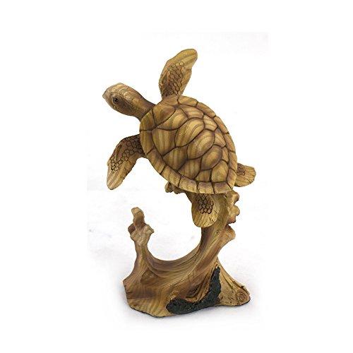 Vida Marina natación mar tortuga sobre WOODLIKE figura decorativa