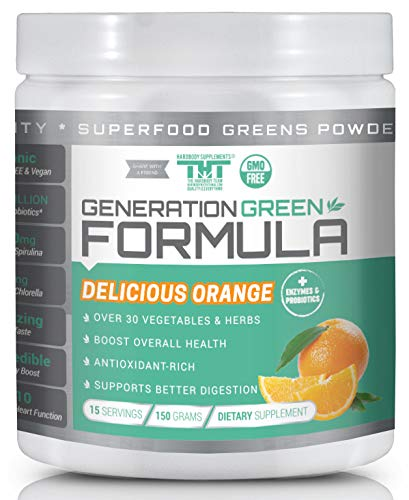 Generation Greens Powder | Organic Superfood Powder with Spirulina, Chlorella, Wheat Grass | 60 Powerful Super Foods, Probiotics, Enzymes | GMO Free (15 Serving, Delicious Orange)
