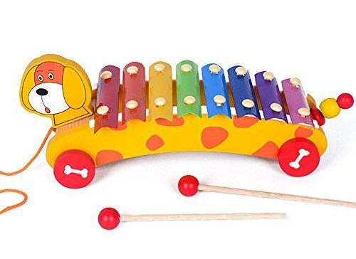 Cutty Holz Kinder Spielzeug Klavier Xylophon, Glockenspiel Musical Spielzeug für Kleinkinder–Hundeanhänger