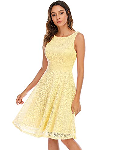 Bbonlinedress Damen Retro Charmant Ärmellos Rundhals Knielang mit Spitzen Floral Rockabilly Cocktail Abendkleider Yellow S