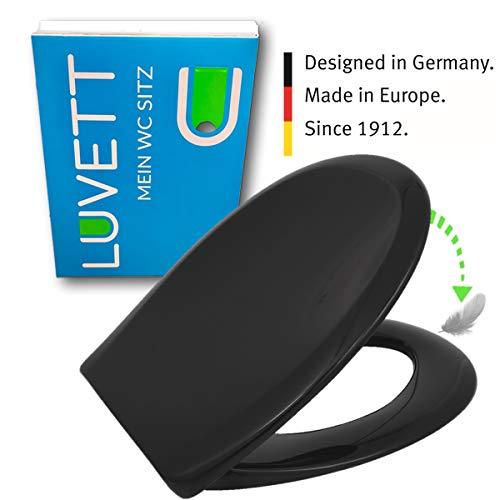 LUVETT WC-Sitz C770 oval mit Absenkautomatik SoftClose® & TakeOff® EasyClean Abnahme, Duroplast Toilettendeckel, Farbe:Schwarz