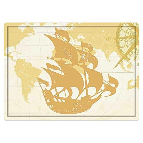 Tapis de Salle de Bain Absorbant antidérapant,Nautique, Graphique Vintage à Double Exposition avec Carte du Vieux Monde Un Concept de bo Tapis de Bain Lavable en Machine 50 * 80cm