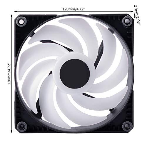DROHOO RGB LED Ventilador de Color arcoíris 12-14 cm PWM Ventilador de refrigeración para Placa Base de sincronización de 5 V y 3 Pines, Negro