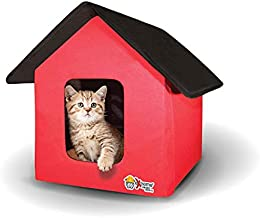 Extreme Consumer Products New and Improved Indoor/Outdoor Cat House with Heated Cat Bed - 2 Doors - No Slip Feet and Stake Ties for Secure Placement