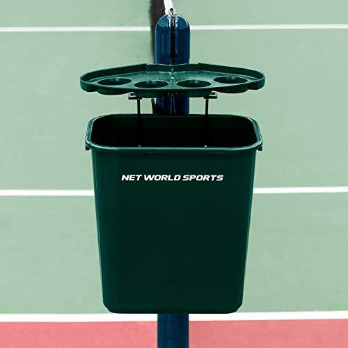 Vermont Tennis Court Trash Can & Shelf | Durable PVC with Aluminum Bracket