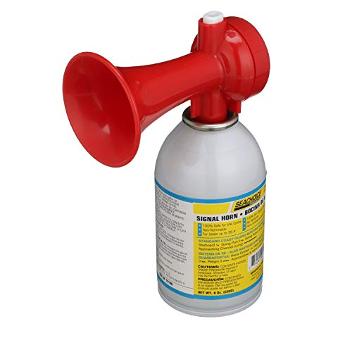 SEACHOICE 46111 Signal Horn Kit with Trumpet – 8 Oz. – Produces 120 Decibels at Over 3 Feet, White, One Size