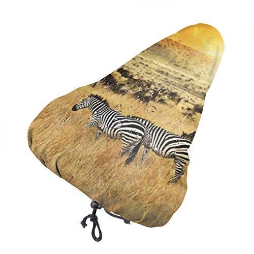 MOLLUDY Sattelbezug wasserdichte Fahrradsattelabdeckung Zebra Herde und Antilope bei Sonnenuntergang Fahrrad bequem Sitzkissen Pad Bezug extra Komfort 27 * 24 cm