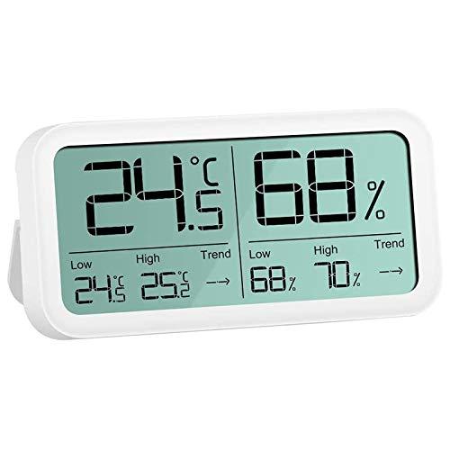 SODIAL ThermomèTre D'IntéRieur à HygromèTre NuméRique, Jauge de TempéRature D'Humidité à Grand éCran de 4,7 Pouces + / - 0,3 Celsius / 3% PréCision