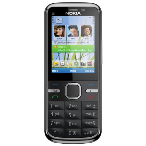 Nokia C5 Smartphone [neue Version] (5,6 cm (2,2 Zoll) Display, Bluetooth, 5 Megapixel Kamera) schwarz