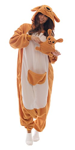 Adult Onesie Kangaroo Animal Pajamas Comfortable Costume with Zipper and Pockets (Small, Fleece)