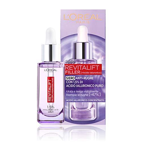 L'Oréal Paris Siero Viso Revitalift Filler, Azione Rimpolpante e Anti-Rughe, Altamente Concentrato con Acido Ialuronico al 1.5%, 30 ml