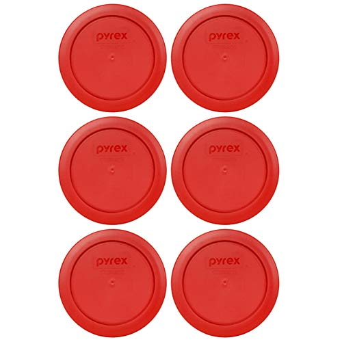 Pyrex 7200-PC 2 Cup Poppy Red Round Plastic Food Storage Lid - 6 Pack