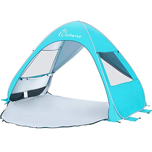WolfWise UPF 50+ Easy Pop Up Beach Sun Shelter Tent Portable Baby Canopy Quick Instant Automatic Sport Umbrella Sun Shade Blue Medium