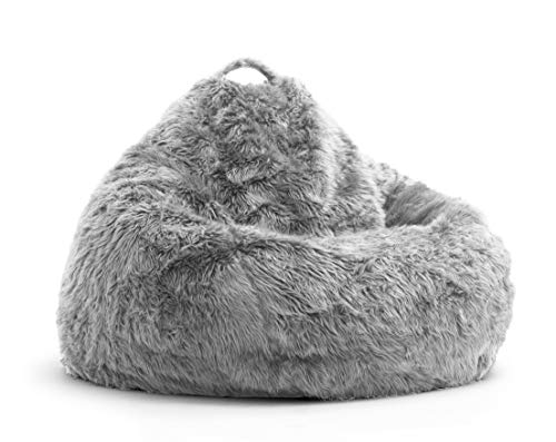 Nexis Sundry Ultra Soft - Comfortable Machine Washable Gray Faux Furry Glam Tear Drop Slacker Bean Bag Chair Cover Only - (No Filler) - Cover Only - XXXL (48'' x 36'')