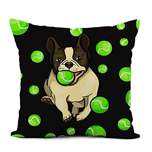 N\A Funda de Almohada de Lino para Perro Verde Jugando en una Pelota de Tenis Bulldog inglés Corriendo decoración del hogar Funda de Almohada Funda de cojín para sofá Cama y Coche