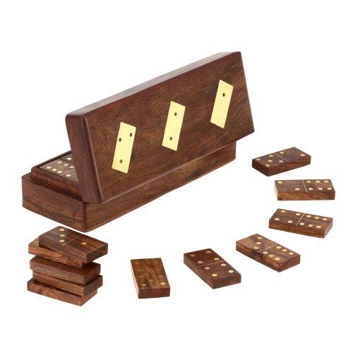 Ajuny Caja de Almacenamiento de Juego de dominó Hecha a Mano de Madera con Incrustaciones de latón Tamaño de la Caja 8x3 Pulgadas