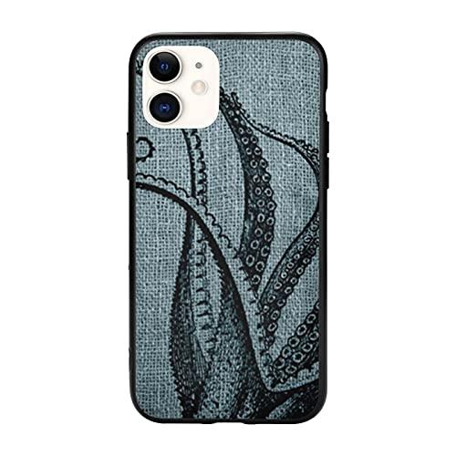 Vintage Octopus Tentacles Nero Blu Grigio Compatibile con IPhone 11 Pro Max-6.5 Custodie, Antiscivolo TPU Custodia Protettiva Cellulare Cover per Donne Uomini Ragazze Regalo