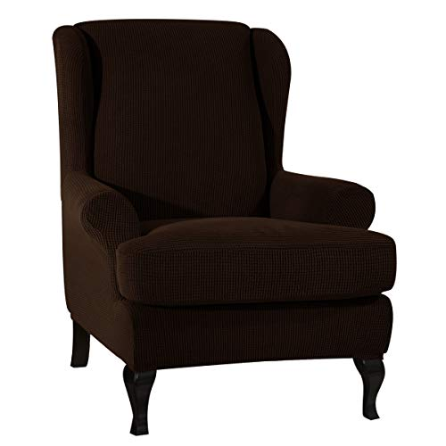 CHUN YI Jacquard Wing Chair Cover 2-Piece Armchair Slipcover Furniture Protector, 1 Seater Couch Cover with Elastic Bottom, Checks Stretch Spandex Jacquard Fabric(Wing Chair, Chocolate)