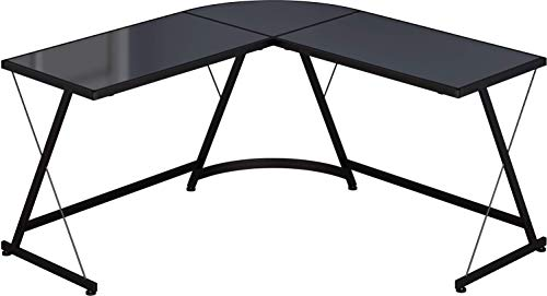 SHW L-Shape Corner Desk Computer Gaming Desk Table, Black