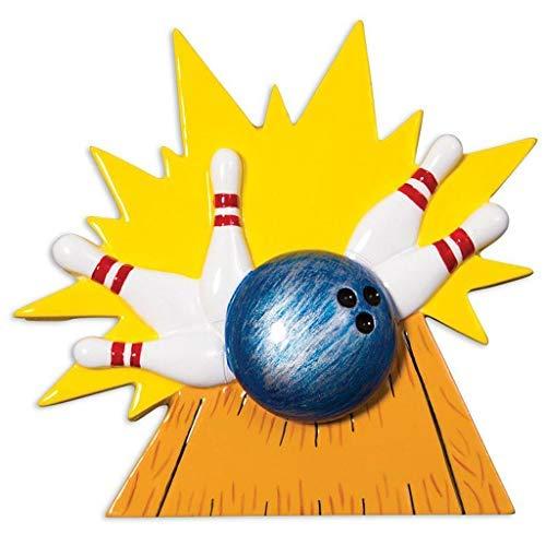 Bowling Bowler Player Personalized Christmas Tree Ornament 2020 | Black Ball Strike Knock Down White Pins Bowling Sport