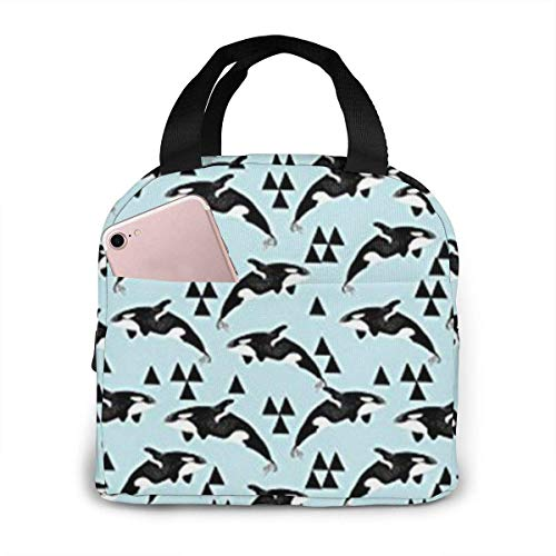 shenguang Whales Ocean Orcas Pastel Blue Insulated Lunch Bag for Women, Thermal Cooler Lunch Tote Bag, Portable Lunchbox Reusable Meal Prep Bag for Men,Girls,Adults,Students,Kids,Picnic,Trave,Hiking