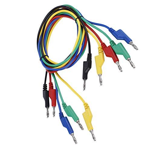 Puntas de Prueba, 5 piezas P1036 de Alto Voltaje de Doble Cabeza 1 m 4 mm Banana Plug Cable de Prueba para Multímetro, para Trabajos de Prueba Eléctrica o Eléctrica de Laboratorio