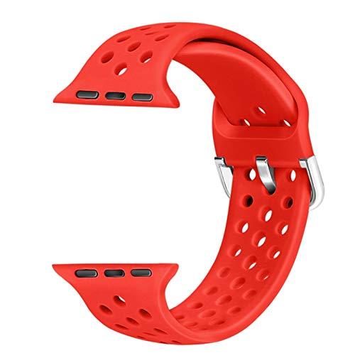 Banda de goma compatible para Apple Watch 4 5 6 31 SE 40mm 44mm Correa deportiva de silicona suave y transpirable para iWatch Series 38MM 4MM