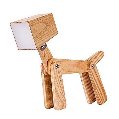Lampe de table lampe de table de chambre à coucher pour enfants, lampe de table en bois massif à motif de bande dessinée lampe de table personnalisée pour enfant lampe de chevet créative (chiot) A+