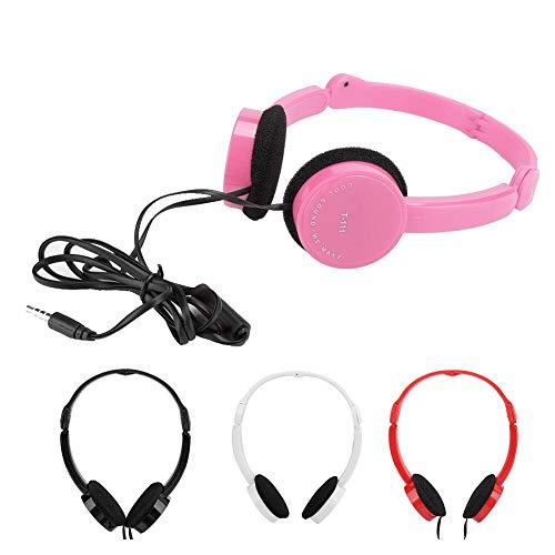 Kabelgebonden opvouwbare headset voor kinderen, met hoogwaardig geluid, zachte headset, ruisonderdrukking via hoofdtelefoon, compatibel met telefoon, pc, Mac, laptop, roze