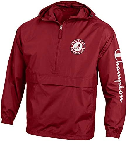 Champion NCAA Mens NCAA Men s Half Zip Packable Hooded Wind Jacket Alabama Crimson Tide XX Large product image