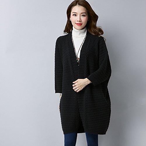 Xuanku à Moyen Et à Long Terme, voituredigan Tricot Femme Pull Loose à Manches Longuesxl,noir