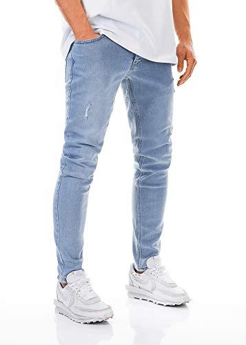 Burocs Herren Destroyed Jeans Skinny Fit Stretch Dunkelblau Blau Schwarz BR1512, Farbe:Hellblau (2020), Hosengröße:W29 L32