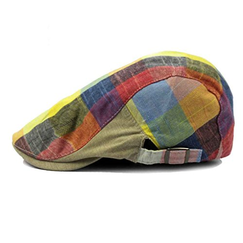 Bobury Hombres Color Lattice Cap Hat Boina Hat Ajustable