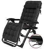 Strnry Sun Lounger Garden Chairs Klappstühle, Hochleistungs-Schwerelosigkeitsstühle Mit Getränkehalter/Weicher Kopfstütze/Perlenkissen Rückenlehne Verstellbar 90 ° - 170 °