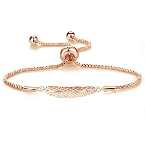 Philip Jones Rose Gold Feather Friendship Bracelet Created with Austrian Crystals