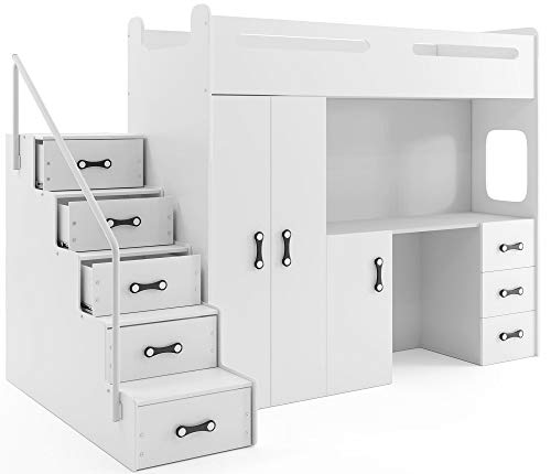 Interbeds MAX 4 - Cama Alta (200 x 80 cm, con Armario y Escritorio, Incluye colchón) blanco
