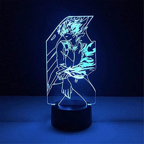 Luz de noche LED acrílica 3D Anime My Hero Academia Lamparas Todoroki Shoto Luz de noche 3D Anime Lámpara Decoración 16 colores