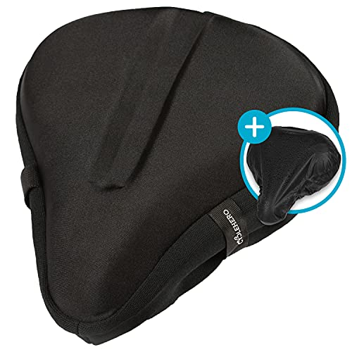 Coprisella ampio (29x 27cm) in gel, con fascia di sicurezza,comodo e morbido, per bicicletta, cyclette e bicicletta elettrica, per uomini e donne, schwarz mit Regenbezug