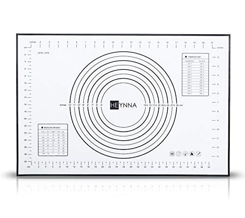 HEYNNA® Premium Silikon Backmatte/rutschfeste Backunterlage 60x40cm - Silikonmatte zum Kochen und Backen als Teigmatte, Backofenfest, 100{f8a69737140ebd5e171bf511c9fa3b57c9dc210c083ce82be5e02b7c25caa029} BPA frei