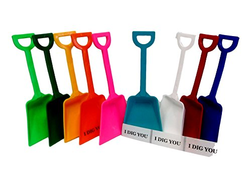 24 Mix Colors Small Toy Shovels and Free 24 I Dig You Stickers, Mfg. USA, Lead Free, No Bpa by Jean's Plastics