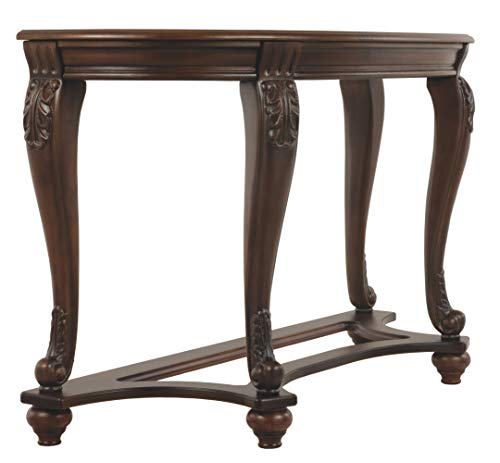 Ashley Furniture Signature Design - Norcastle Glass Top Sofa Table - Semi-Circle - Dark Brown