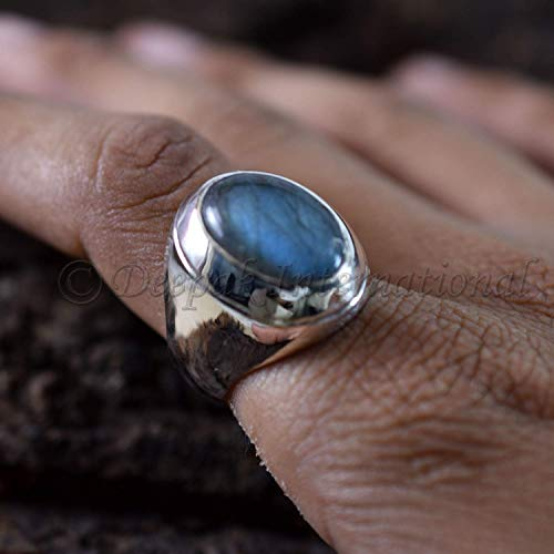 Natural Labradorite Gemstone Ring Simple Ring Natural Labradorite Gemstone Natural Fire Gemstone Ring 925 Pure Silver Ring Jewelry For Mens