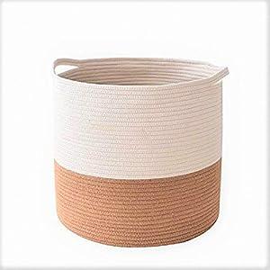 Tubeshine Cotton Woven Rope Basket with Handles, Organic Storage Baskets Round Hamper Bin Organizer for Living Room Bathroom Nursery Baby Laundry (Large, 16.14″x16.14″x17.7″)
