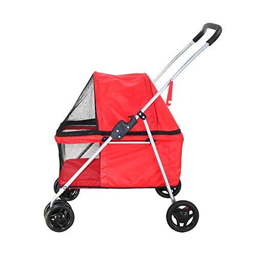 Cochecito para Perro, Carrito Carro Silla Mascota para Caminar 4 Ruedas Al Aire Libre para Perro Discapacitado Carretilla Gato Plegable De Bebe (Color : Rojo)