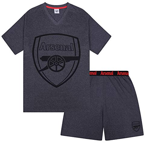 Arsenal FC Official Football Gift Mens Loungewear Short Pyjamas Grey Small