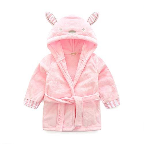 Kinder Nachtwäsche mit Kapuze Bademantel, Baby Kleinkind Jungen Mädchen Nachthemd Flanell Pyjamas Bademäntel Cartoon Tiere Handtuch Hase
